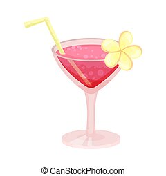 Pink cocktail. Vector illustration on a white background.