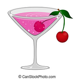 Pink cocktail with cherry, vector illustration