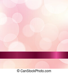 Pink Color Background With Ribbon, With Gradient Mesh,...