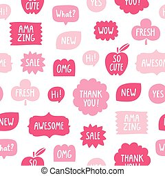 Pink color phrases seamless pattern on white background