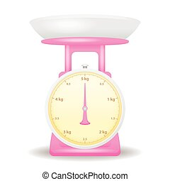pink color weight scale market isolate on white background