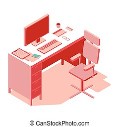 Pink-colored office workplace. Isometric flat illustration
