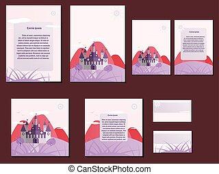 Castle hill design element castle hill logo design element pink colorful brochures business cards with castle design colourmoves
