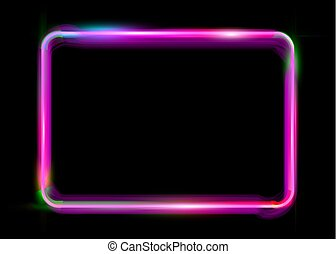 pink colorful neon shiny glowing vintage frame isolated or black background. Fluorescent light Multicolored neon tube realistic rectangle border, vector fashion lights design template illustration