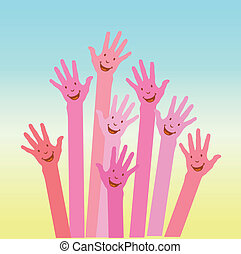 pink colorful up hands