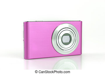 Pink Compact Digital Camera isolated on white Background