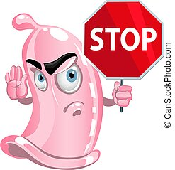 Pink condom with red stop sign