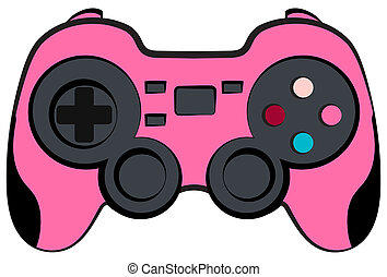 Pink Console Game Controller with Clipping Path on White
