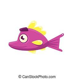 Pink Content Fantastic Aquarium Tropical Fish With Eyebrows Cartoon Character