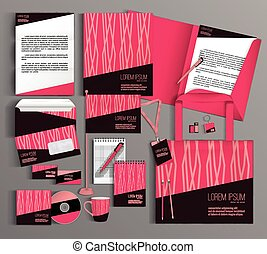 Pink corporate identity template design. Business stationery set.