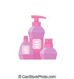 Pink Cosmetic products package.