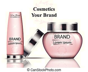 Pink cosmetics packaging Vector realistic. hydration cream...