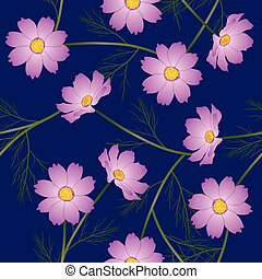 Pink Cosmos Flower on Blue Background. Vector Illustration
