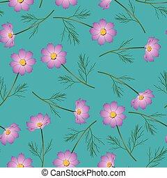 Pink Cosmos Flower on Indigo Blue Background