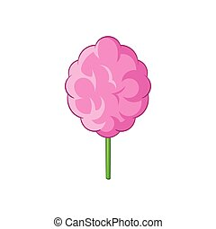 Pink cotton candy icon, cartoon style