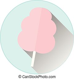 pink cotton candy on a blue circle background with a long shadow. vector illustration
