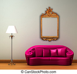 Pink couch with standard lamp and antique frame in minimalist interior