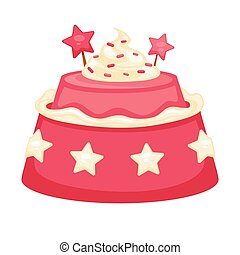 Pink creamy cake with decorations in form of stars isolated