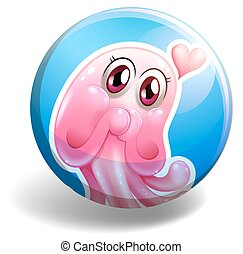 Pink creature on round badge illustration
