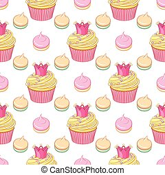 Pink crown cupcakes and meringues vector seamless pattern.