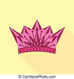 Pink crown icon, flat style