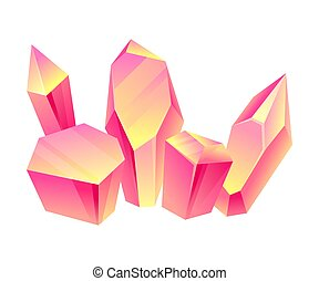 Pink crystals. Vector illustration on a white background.