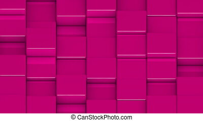 Pink cubes moving up and down in a random pattern. 3D animated motion background loop. Isometric view.