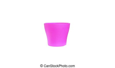 pink cup on isolated white