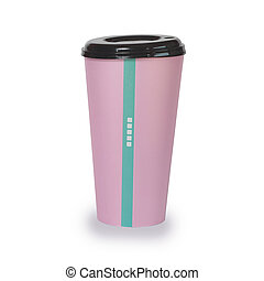 Pink cup with plastic lid mock up isolated, Clear plain tea or coffee take away package.