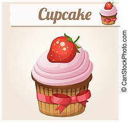 Pink cupcake. Detailed Vector Icon