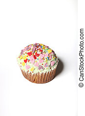 Pink Cupcake - homemade -  white background