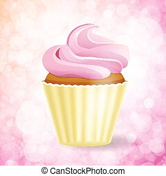 pink cupcake on Bokeh background