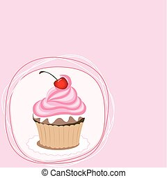 Pink cupcake on the pink background