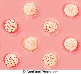 Pink cupcake tile background