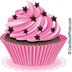 pink cupcake - vector pink cupcake with chocolate sprinkles