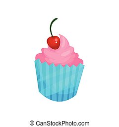 Pink cupcake with cherry cartoon vector Illustration