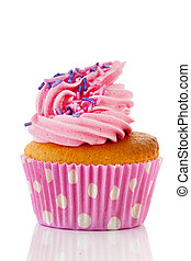 Pink cupcake with flower