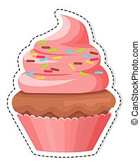 Pink Cupcake with Sprinkles on Cream Flat Vector