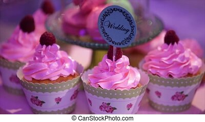 Pink Cupcakes Close Up at wedding