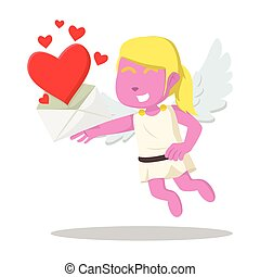 Pink cupid girl showing love letter colorful
