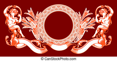 Pink Cupid Sign On Red. Vector Illustration.