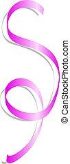 Pink curl ribbon mockup, realistic style - Pink curl ribbon...