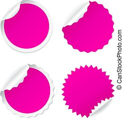 Pink curled up sticker icon - Pink curled up stickers icons...