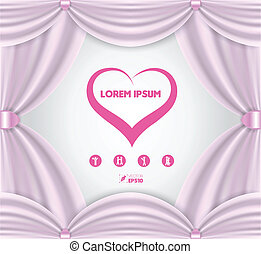 pink curtain frame vector