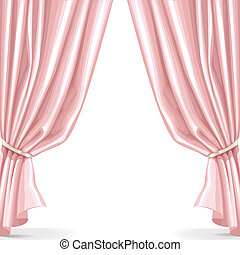 Pink curtain isolated on a white background 2