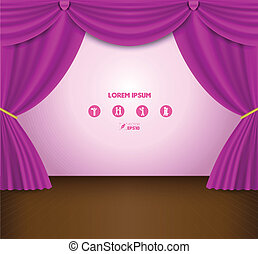 pink curtain - vector business concepts / element object /...