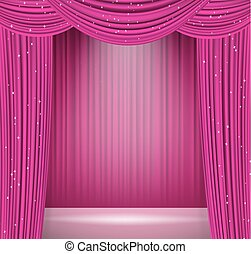 pink curtains background with spotlight on stage. opera, ...