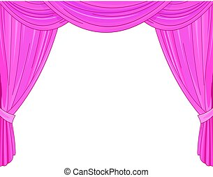 Pink Curtains - Pink curtains on a white background