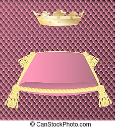 pink cushion with a crown - against the background of a pink...