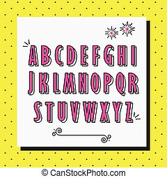 Pink cute and girlie capital alphabet letters set on yellow dotted pattern background